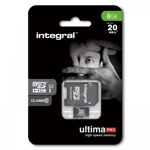 INTEGRAL ULTIMA PRO MICRO SDHC 8GB CLASS 10 WITH SD ADAPTER