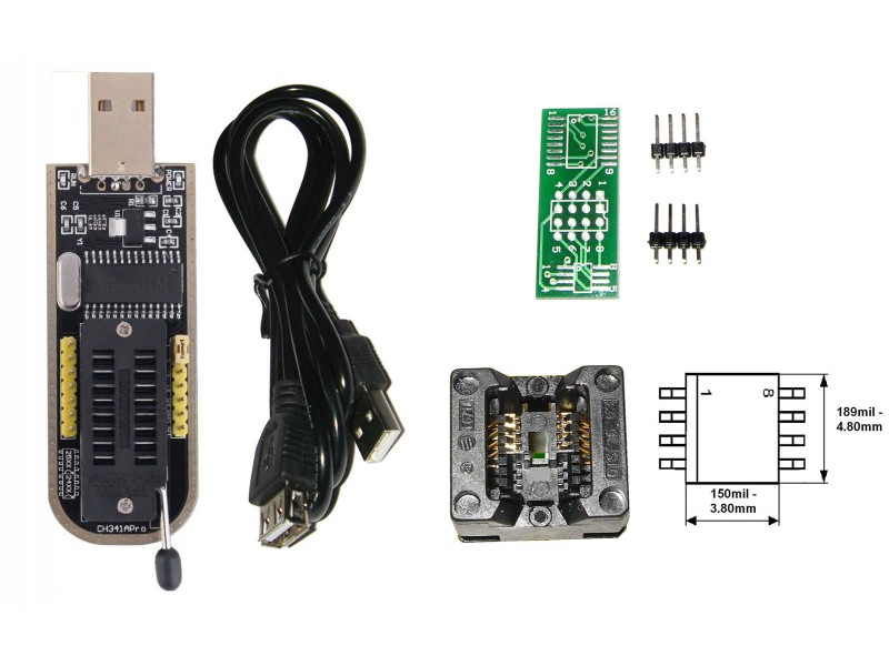 Cheap USB eeprom Programmer CH341A, 24C 25C 25L Bios Chip, SOIC8 1 8v, UK  STOCK